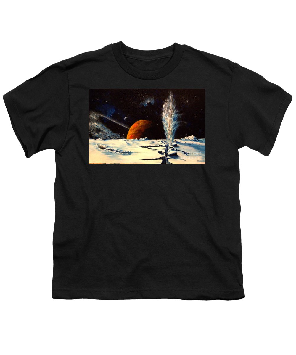 Landscape. Geyser Youth T-Shirt featuring the painting Frozen Geyser by Murphy Elliott