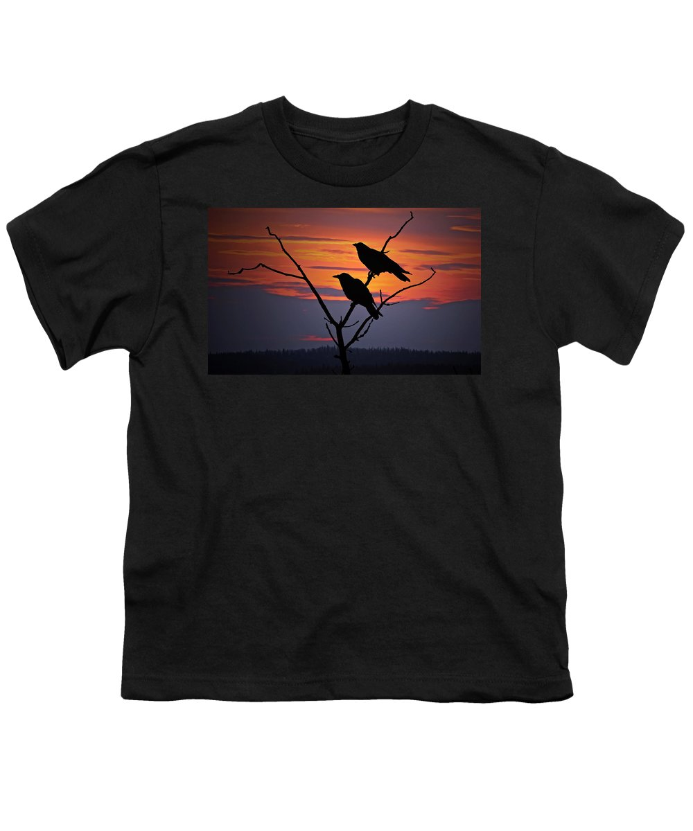 Raven Youth T-Shirt featuring the photograph 2 Ravens by Ron Day