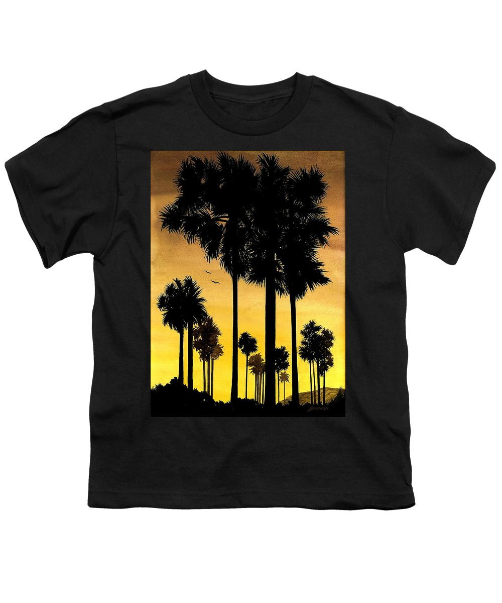 San Diego Sunset Youth T-Shirt featuring the painting San Diego Sunset by Larry Lehman