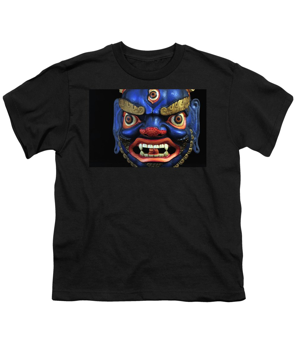 Colorful Youth T-Shirt featuring the photograph Sikkim Dance Mask, India by Theodore Clutter