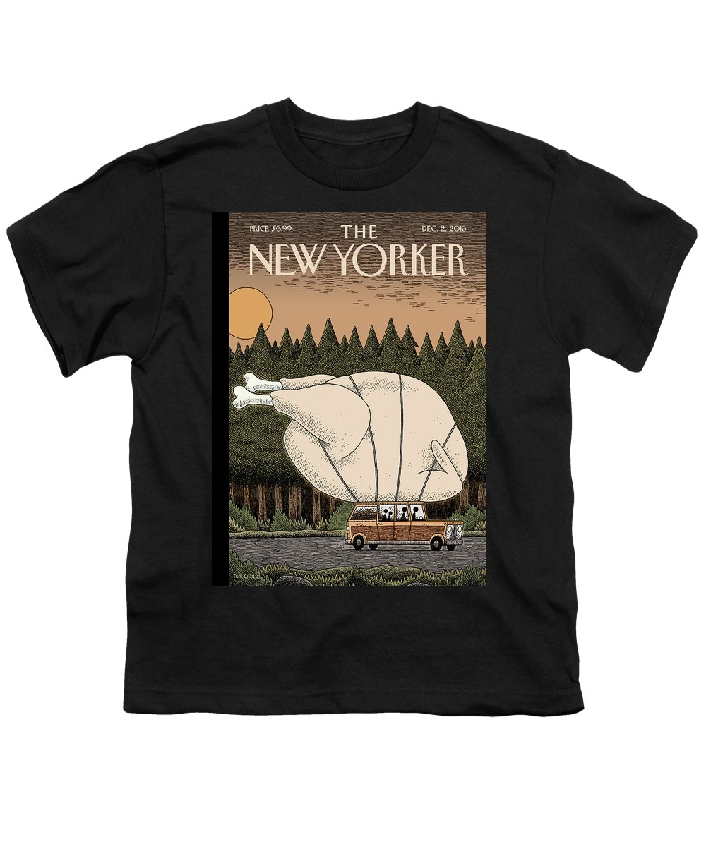 Thanksgiving Youth T-Shirt featuring the painting A Family Rides Home With A Giant Turkey Tied by Tom Gauld