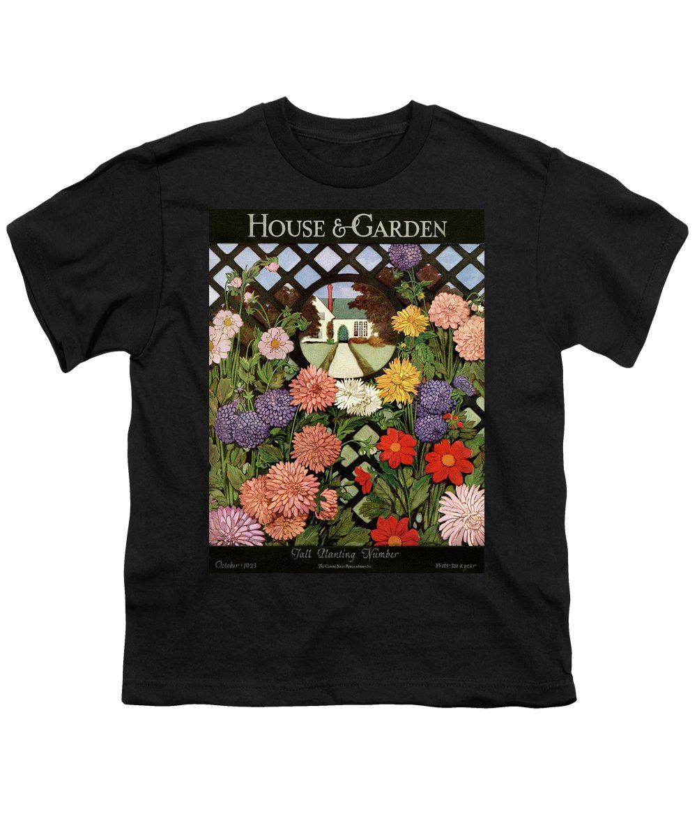Illustration Youth T-Shirt featuring the photograph A House And Garden Cover Of Flowers by Ethel Franklin Betts Baines