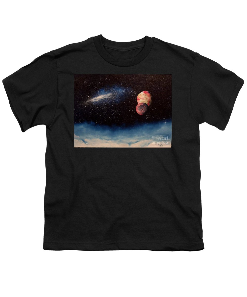 Landscape Youth T-Shirt featuring the painting Above Alien Clouds by Murphy Elliott