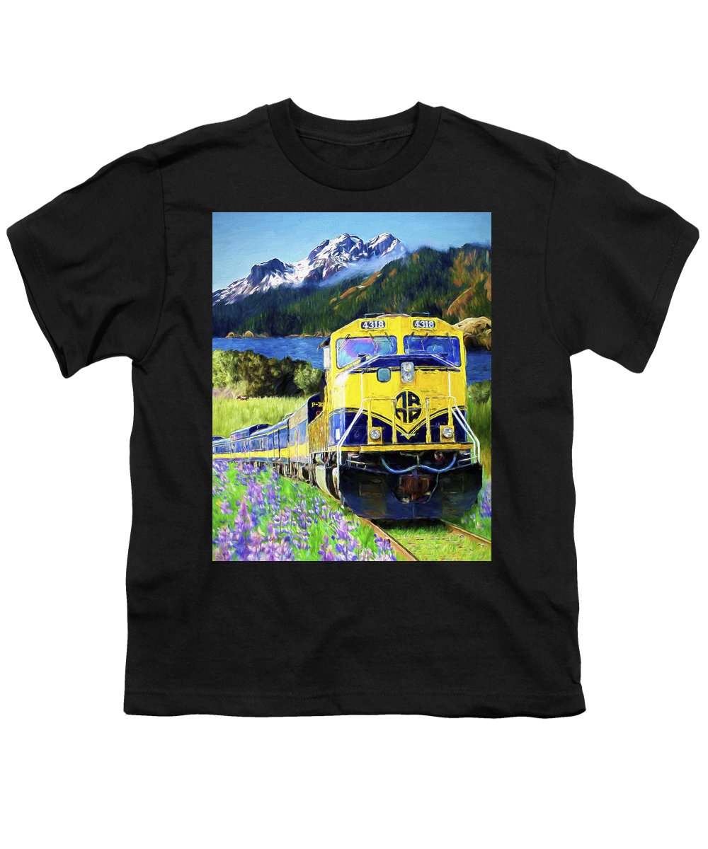 Railroad Youth T-Shirt featuring the painting Alaska Railroad by David Wagner