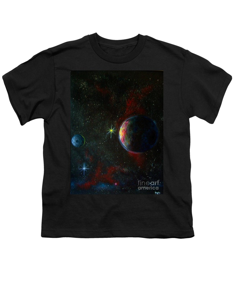 Cosmos Youth T-Shirt featuring the painting Alien Worlds by Murphy Elliott