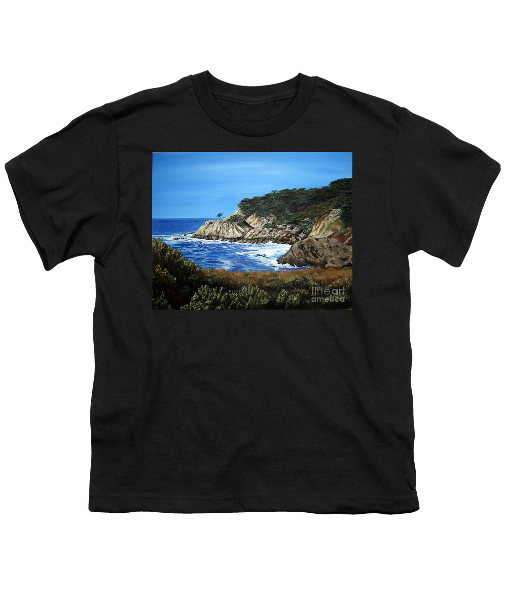 Landscape Youth T-Shirt featuring the painting Along The California Coast by Mary Rogers