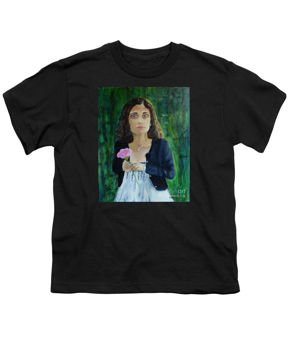 Portrait Youth T-Shirt featuring the painting Aly by Laurie Morgan