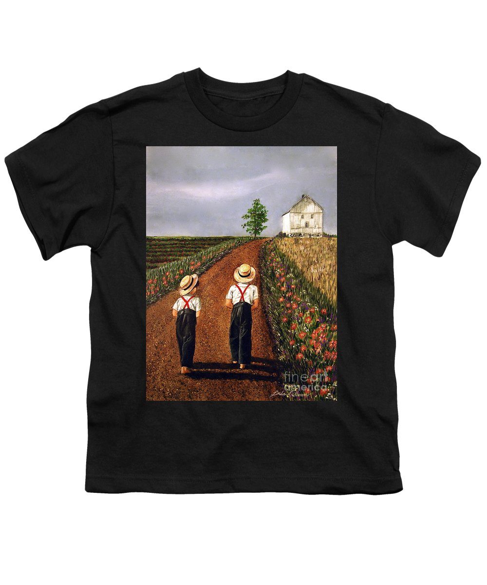 Lifestyle Youth T-Shirt featuring the painting Amish Road by Linda Simon