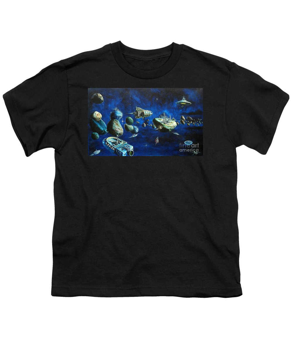Fantasy Youth T-Shirt featuring the painting Asteroid City by Murphy Elliott