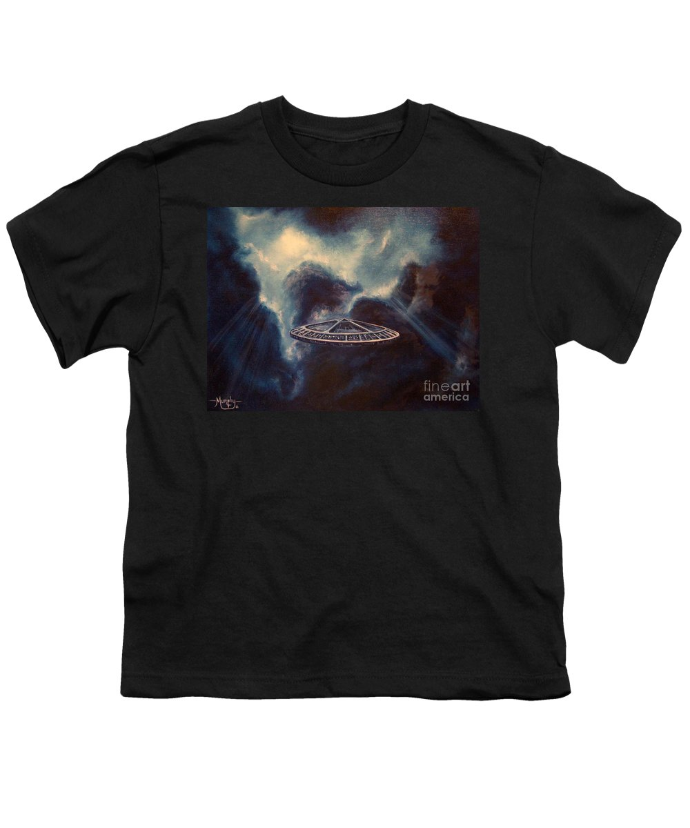 Si-fi Youth T-Shirt featuring the painting Atmospheric Arrival by Murphy Elliott
