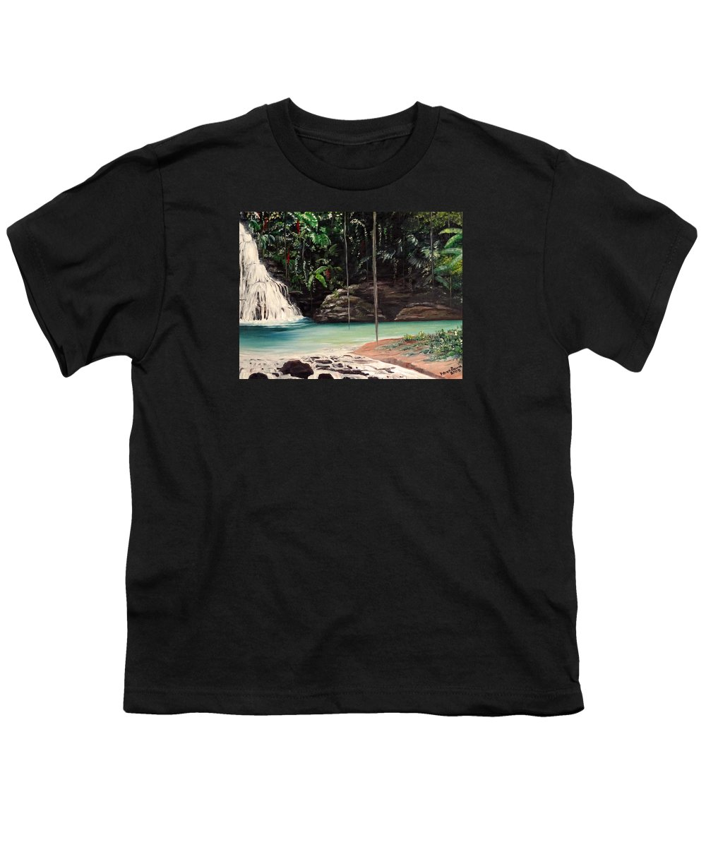Tropical Waterfall Youth T-Shirt featuring the painting Blue Basin by Karin Dawn Kelshall- Best