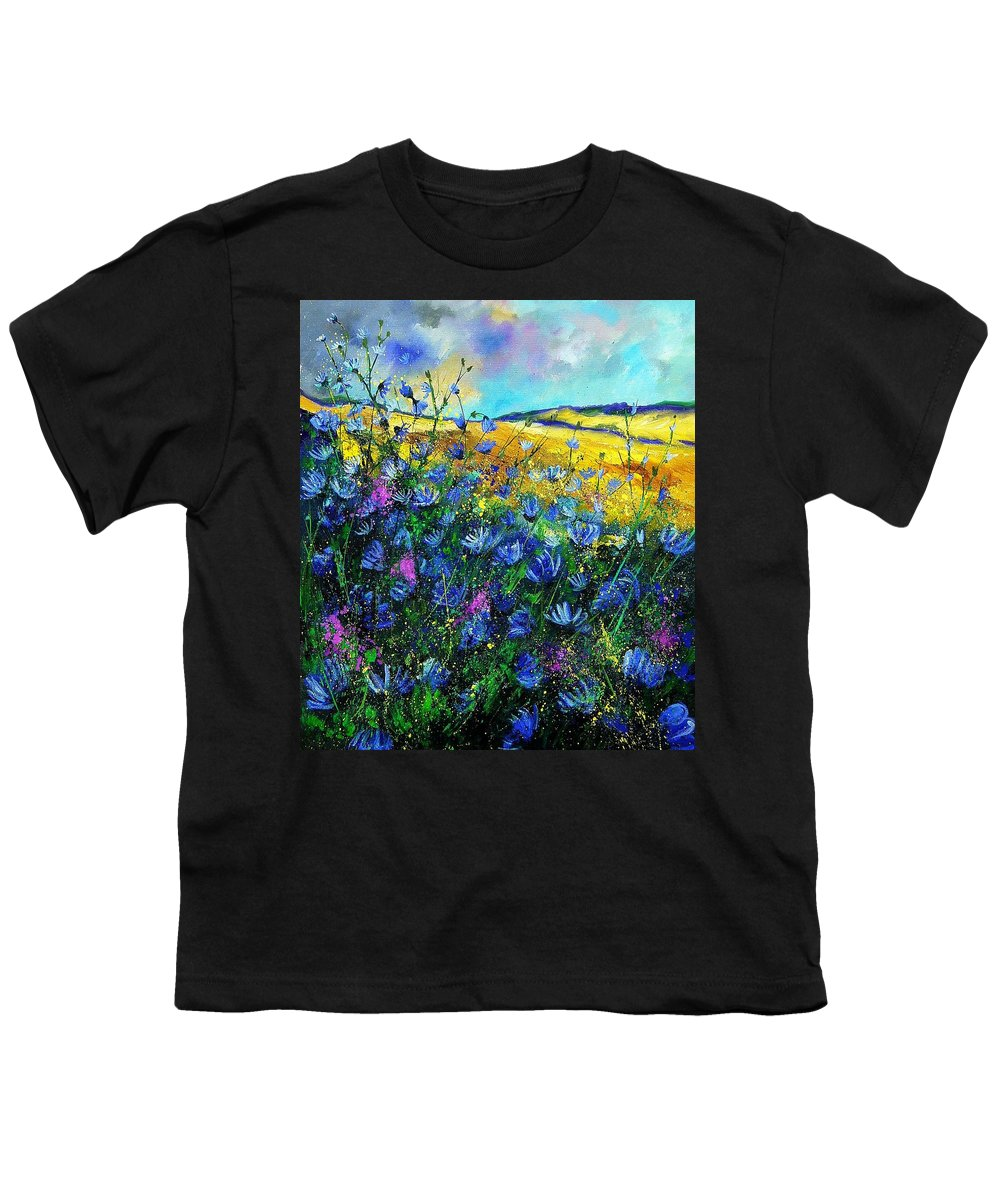 Flowers Youth T-Shirt featuring the painting Blue Wild Chicorees by Pol Ledent