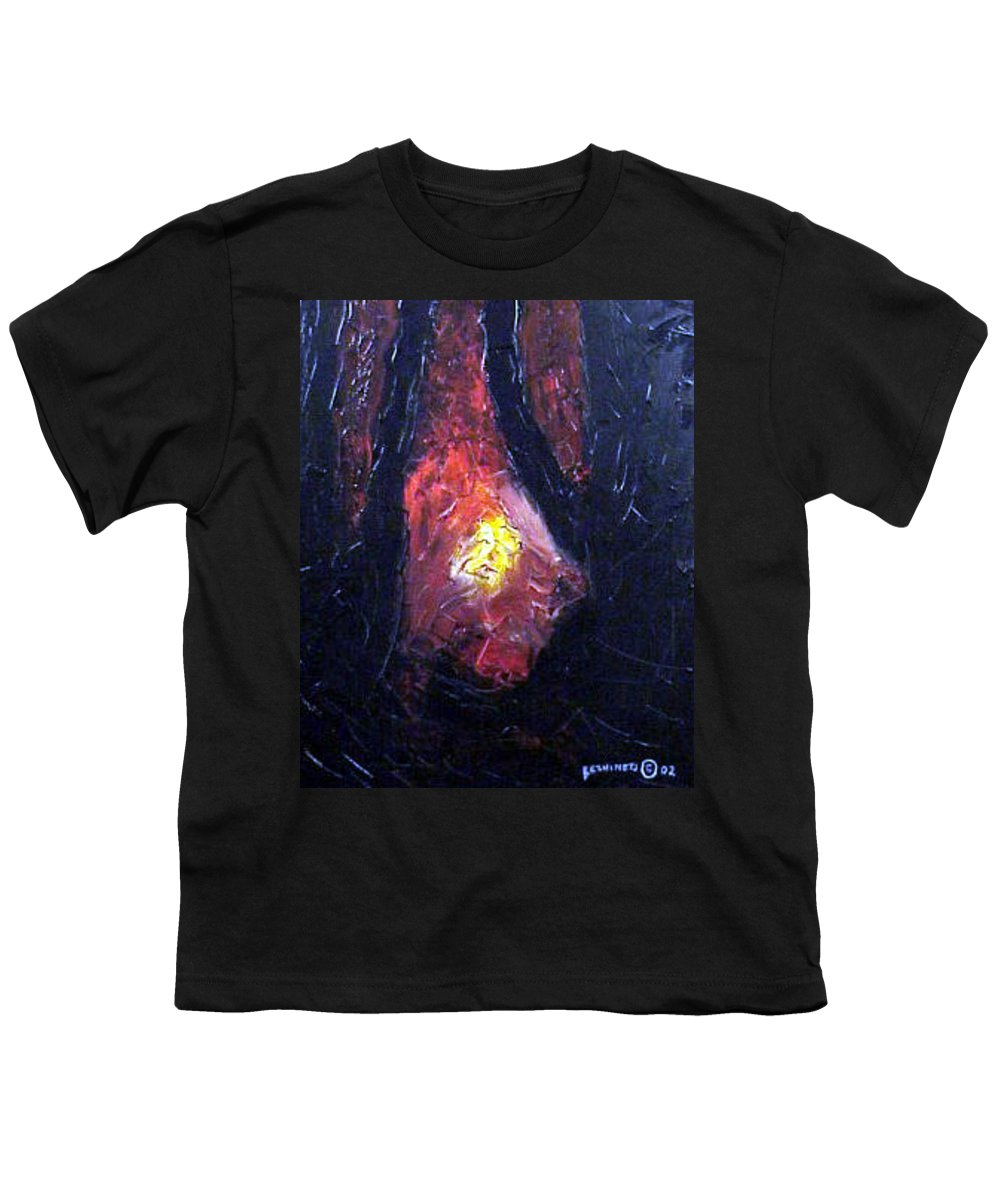 Landscape Youth T-Shirt featuring the painting Bonefire by Sergey Bezhinets