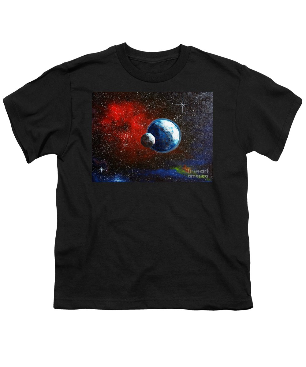 Astro Youth T-Shirt featuring the painting Broken Moon by Murphy Elliott