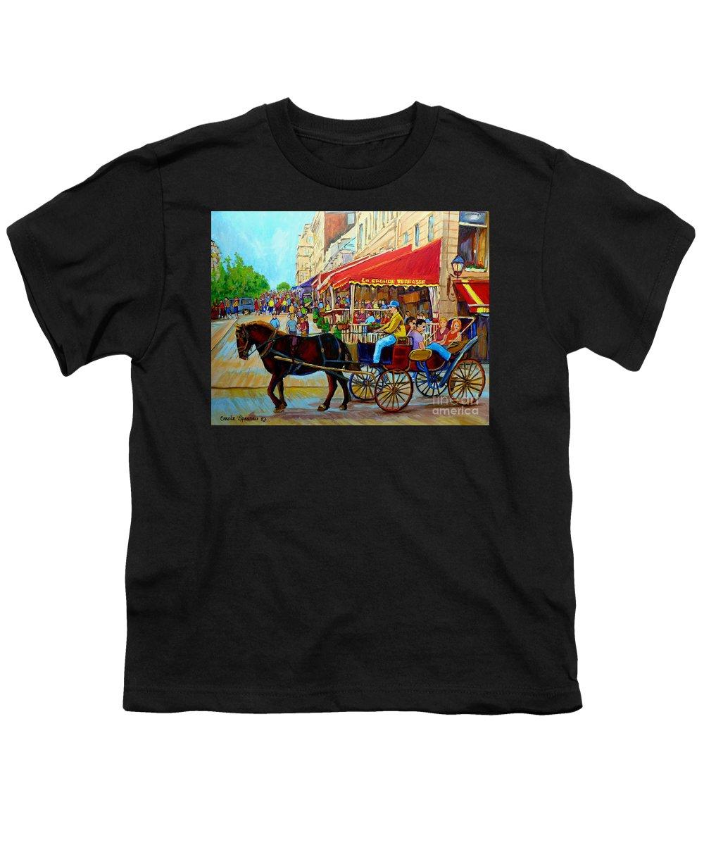 Cafe La Grande Terrasse Youth T-Shirt featuring the painting Cafe La Grande Terrasse by Carole Spandau