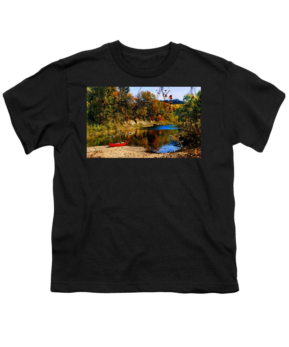 Autumn Youth T-Shirt featuring the photograph Canoe On The Gasconade River by Steve Karol