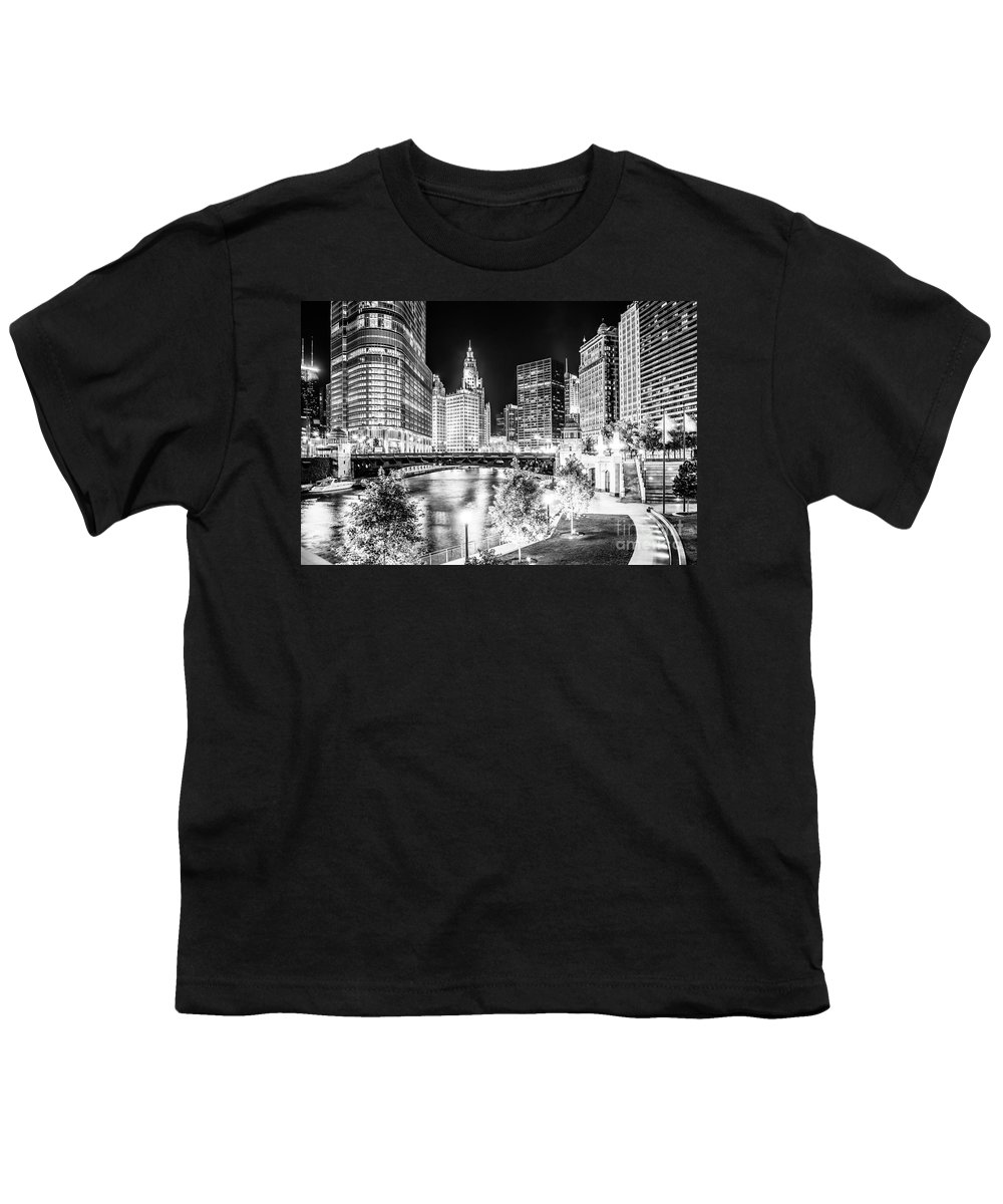 America Youth T-Shirt featuring the photograph Chicago River Buildings at Night in Black and White by Paul Velgos