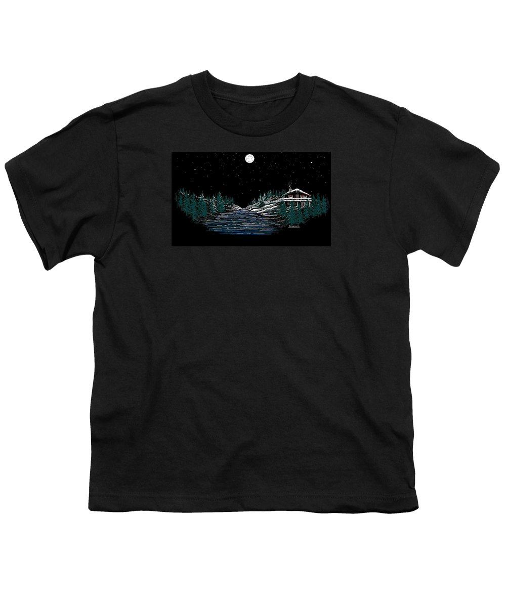 Cold Mountain Winter Youth T-Shirt featuring the digital art Cold Mountain Winter by Larry Lehman