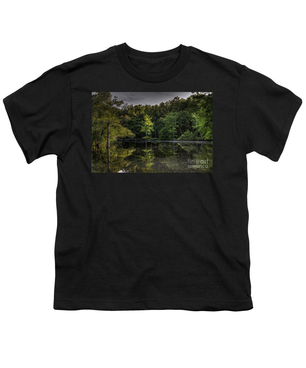 2014 Youth T-Shirt featuring the photograph Cypress At Dusk by Larry Braun