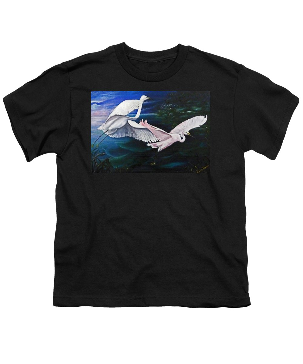 Snowy Egrets Youth T-Shirt featuring the painting Early Flight by Karin Dawn Kelshall- Best