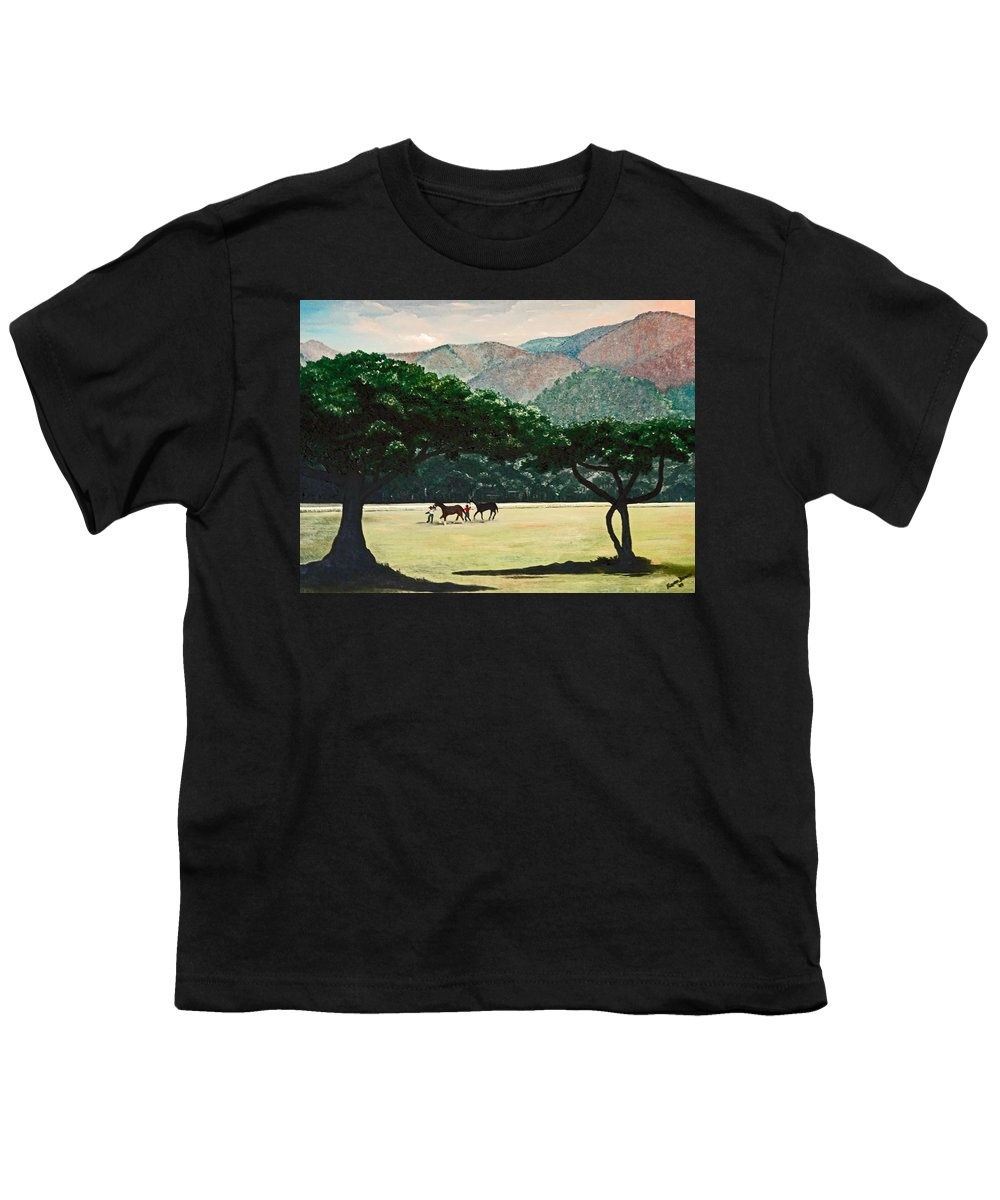 Trees Youth T-Shirt featuring the painting Early Morning Savannah by Karin Dawn Kelshall- Best