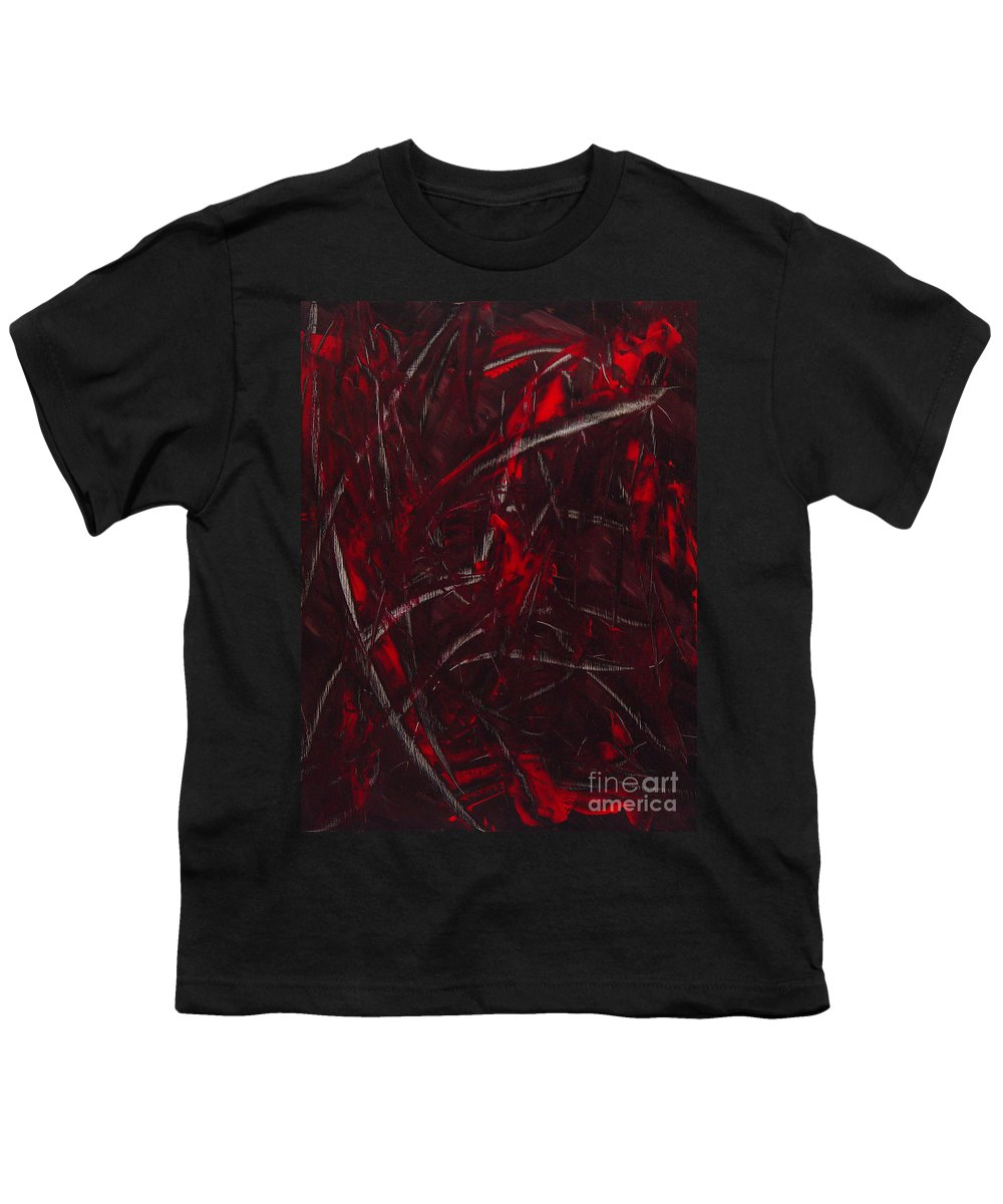 Abstract Youth T-Shirt featuring the painting Expectations Red by Dean Triolo