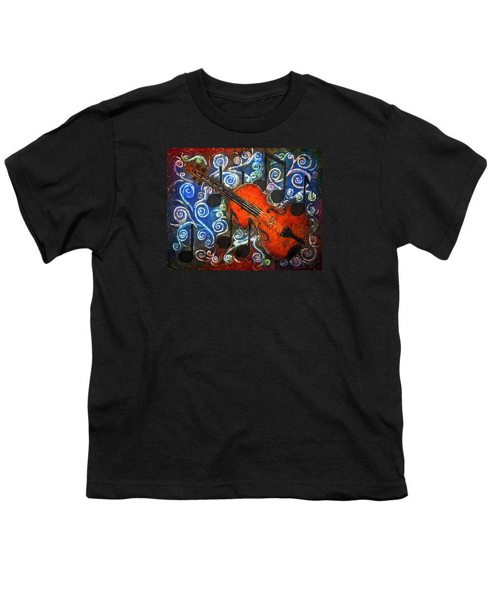 Fiddle Youth T-Shirt featuring the painting Fiddle - Violin by Sue Duda