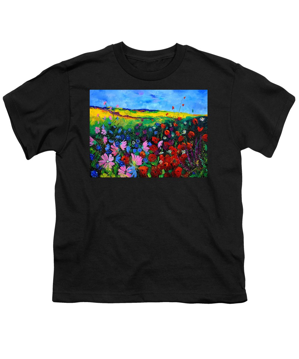 Poppies Youth T-Shirt featuring the painting Field Flowers by Pol Ledent