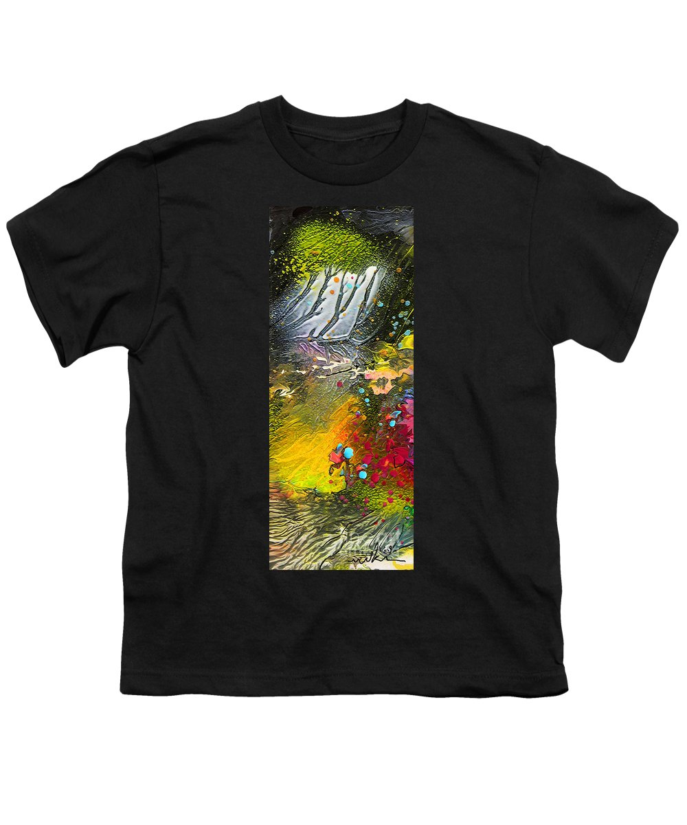 Miki Youth T-Shirt featuring the painting First Light by Miki De Goodaboom