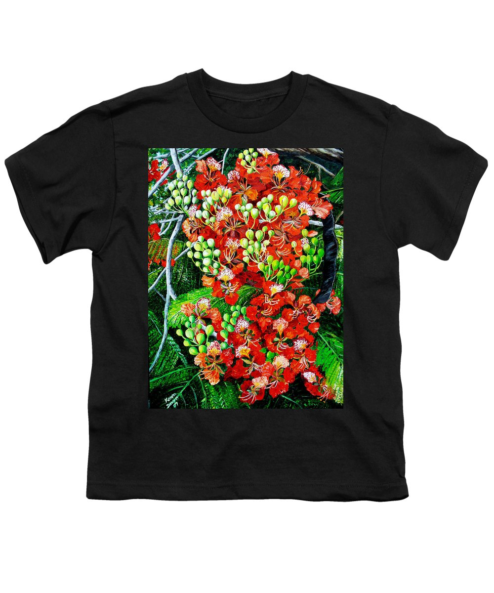 Royal Poincianna Painting Flamboyant Painting Tree Painting Botanical Tree Painting Flower Painting Floral Painting Bloom Flower Red Tree Tropical Paintinggreeting Card Painting Youth T-Shirt featuring the painting Flamboyant In Bloom by Karin Dawn Kelshall- Best