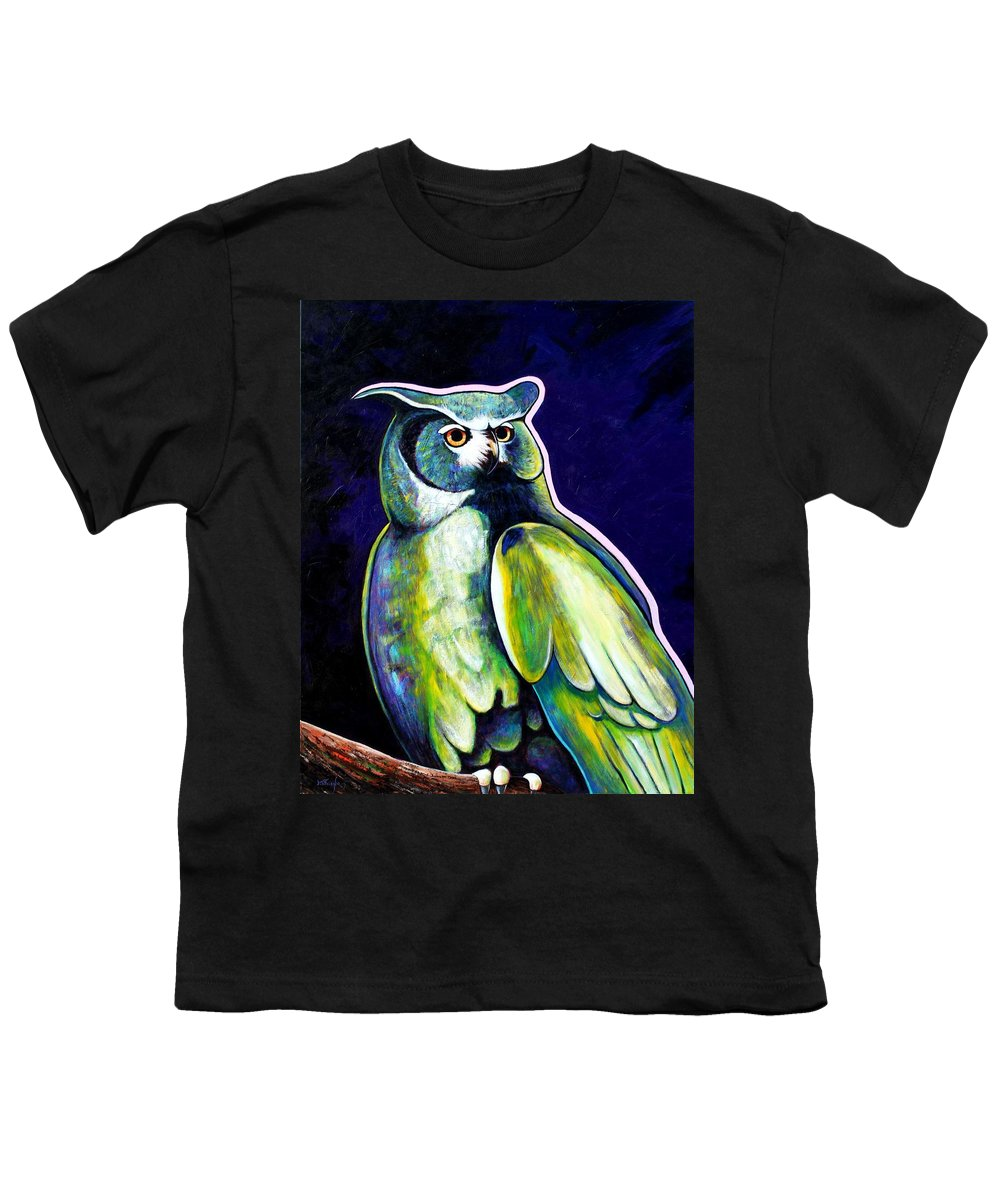 Owl Youth T-Shirt featuring the painting From The Shadows by Joe Triano