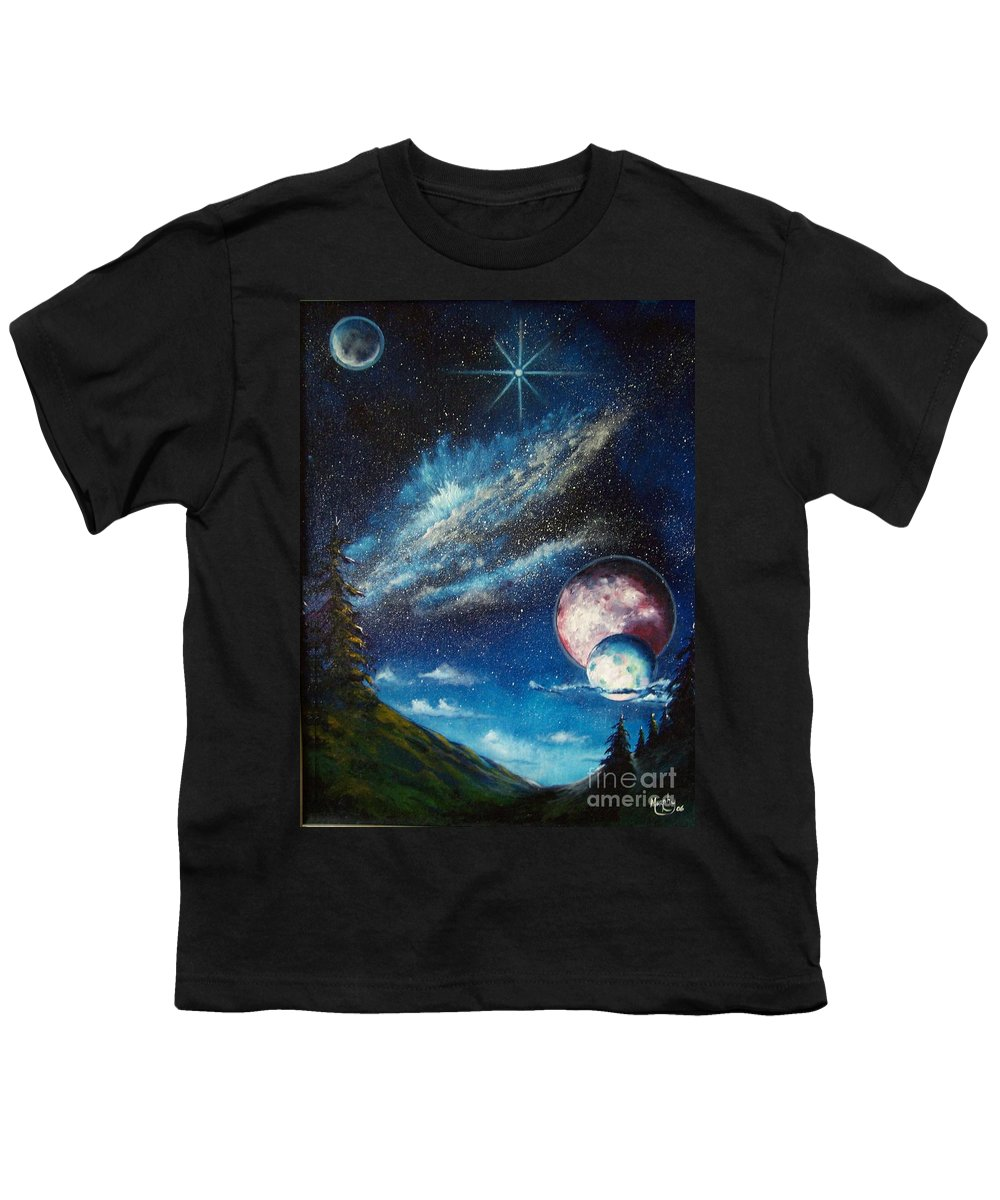 Space Horizon Youth T-Shirt featuring the painting Galatic Horizon by Murphy Elliott