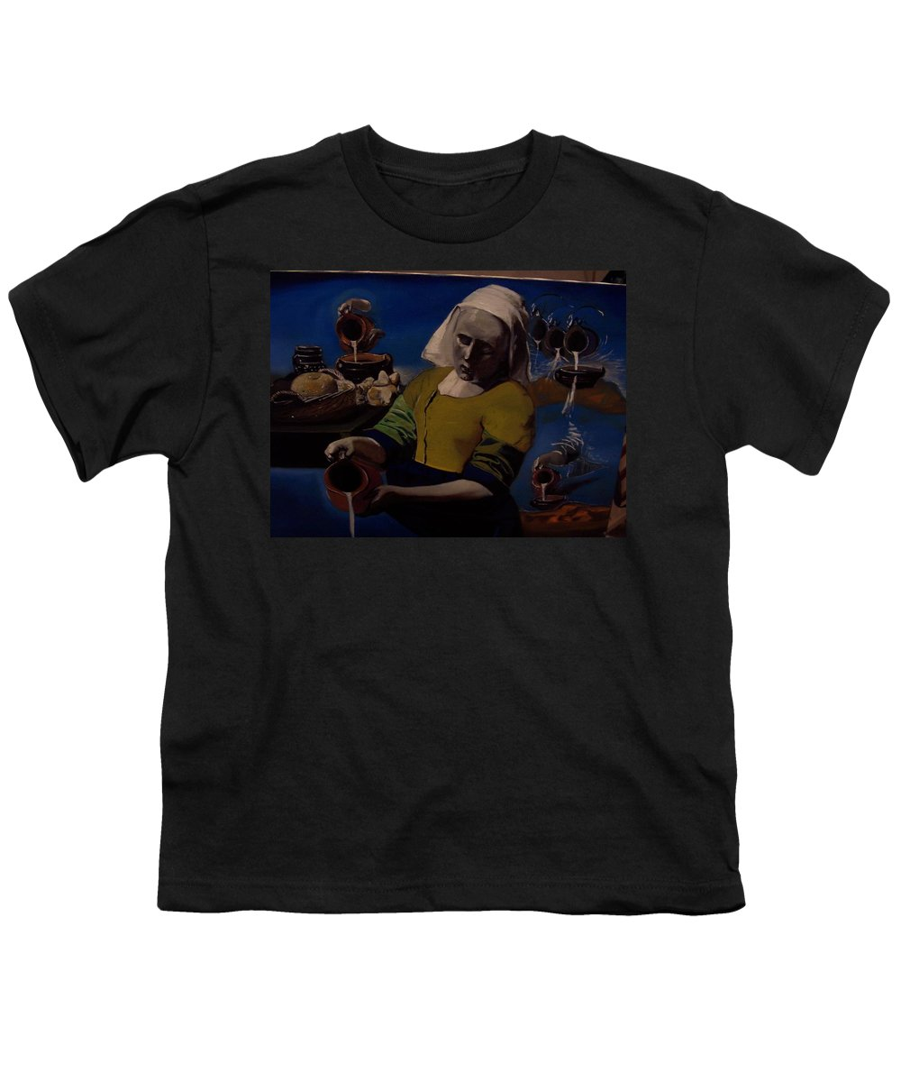 Youth T-Shirt featuring the painting Geological Milk Maid Anthropomorphasized by Jude Darrien