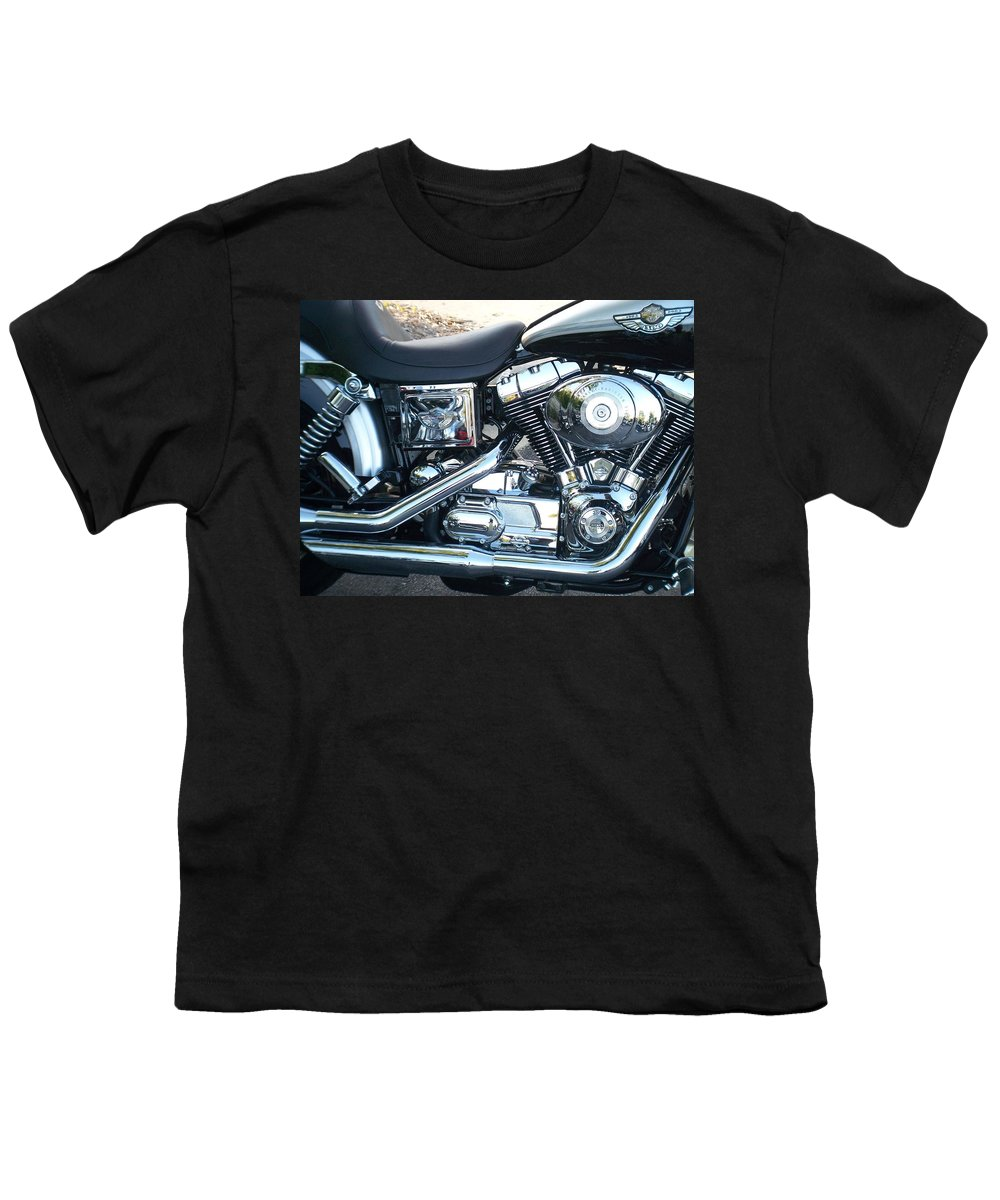 Motorcycles Youth T-Shirt featuring the photograph Harley Black And Silver Sideview by Anita Burgermeister