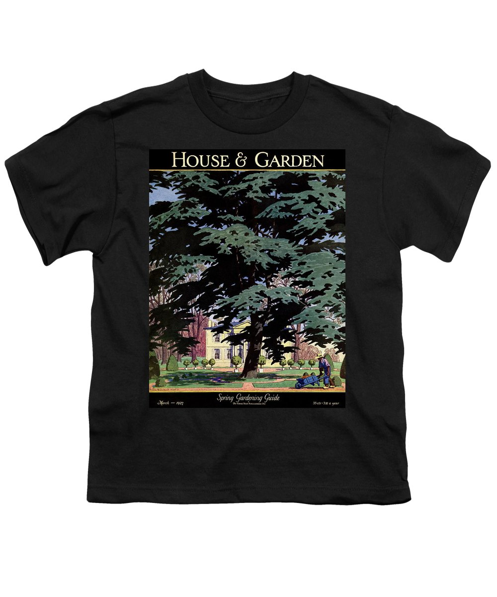 House And Garden Youth T-Shirt featuring the photograph House And Garden Spring Gardening Guide Cover by Pierre Brissaud