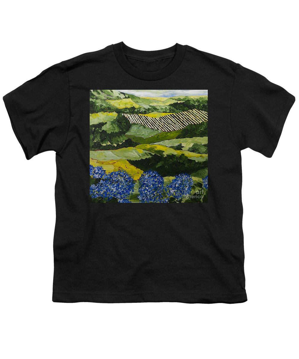 Landscape Youth T-Shirt featuring the painting Hydrangea Valley by Allan P Friedlander