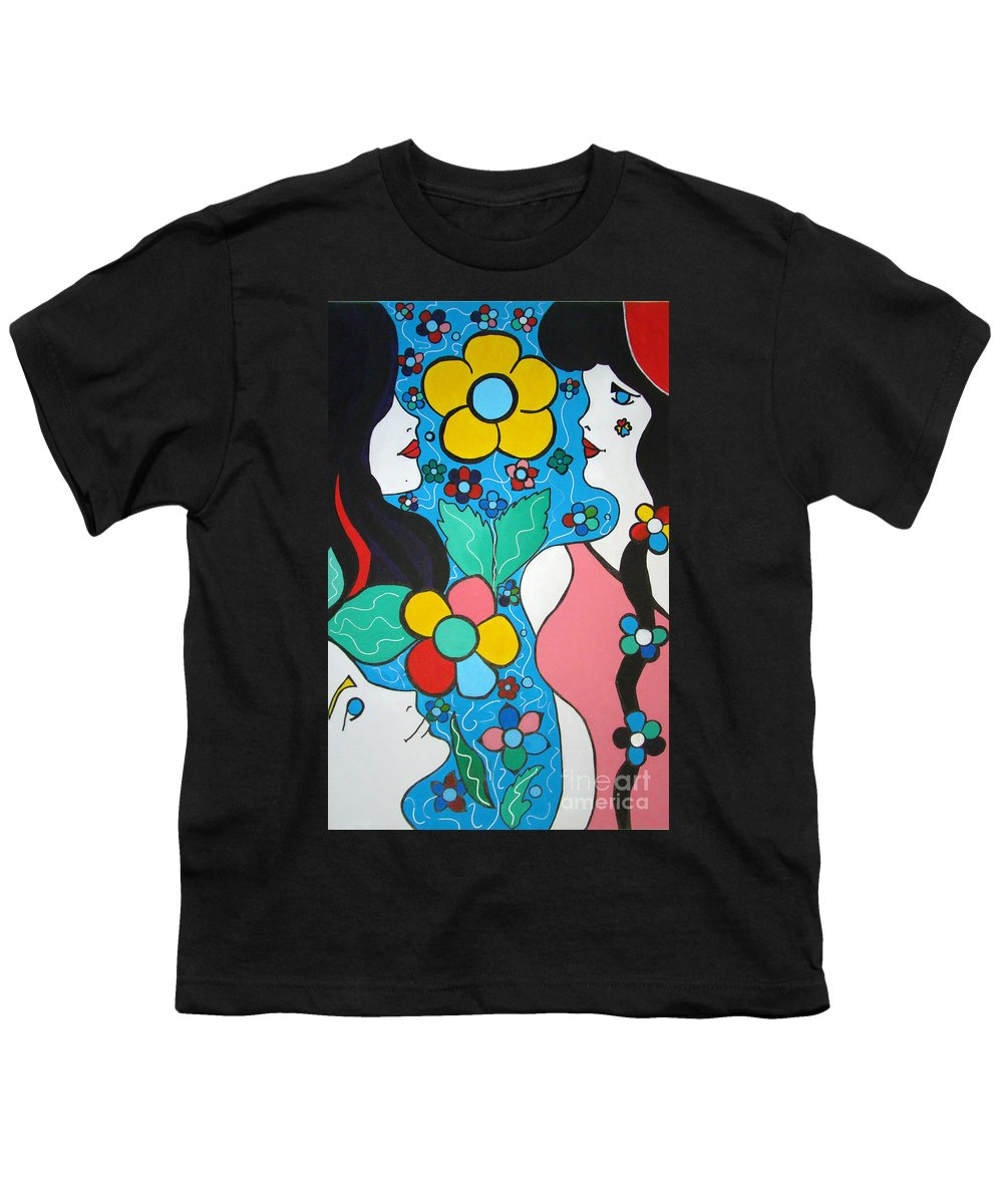 Pop-art Youth T-Shirt featuring the painting Life Is Beautiful by Silvana Abel