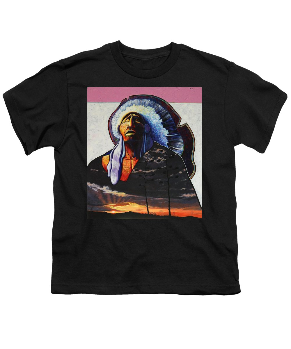 Native American Youth T-Shirt featuring the painting Make Me Worthy by Joe Triano