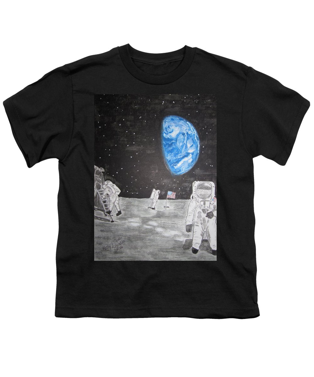 Stars Youth T-Shirt featuring the painting Man On The Moon by Kathy Marrs Chandler