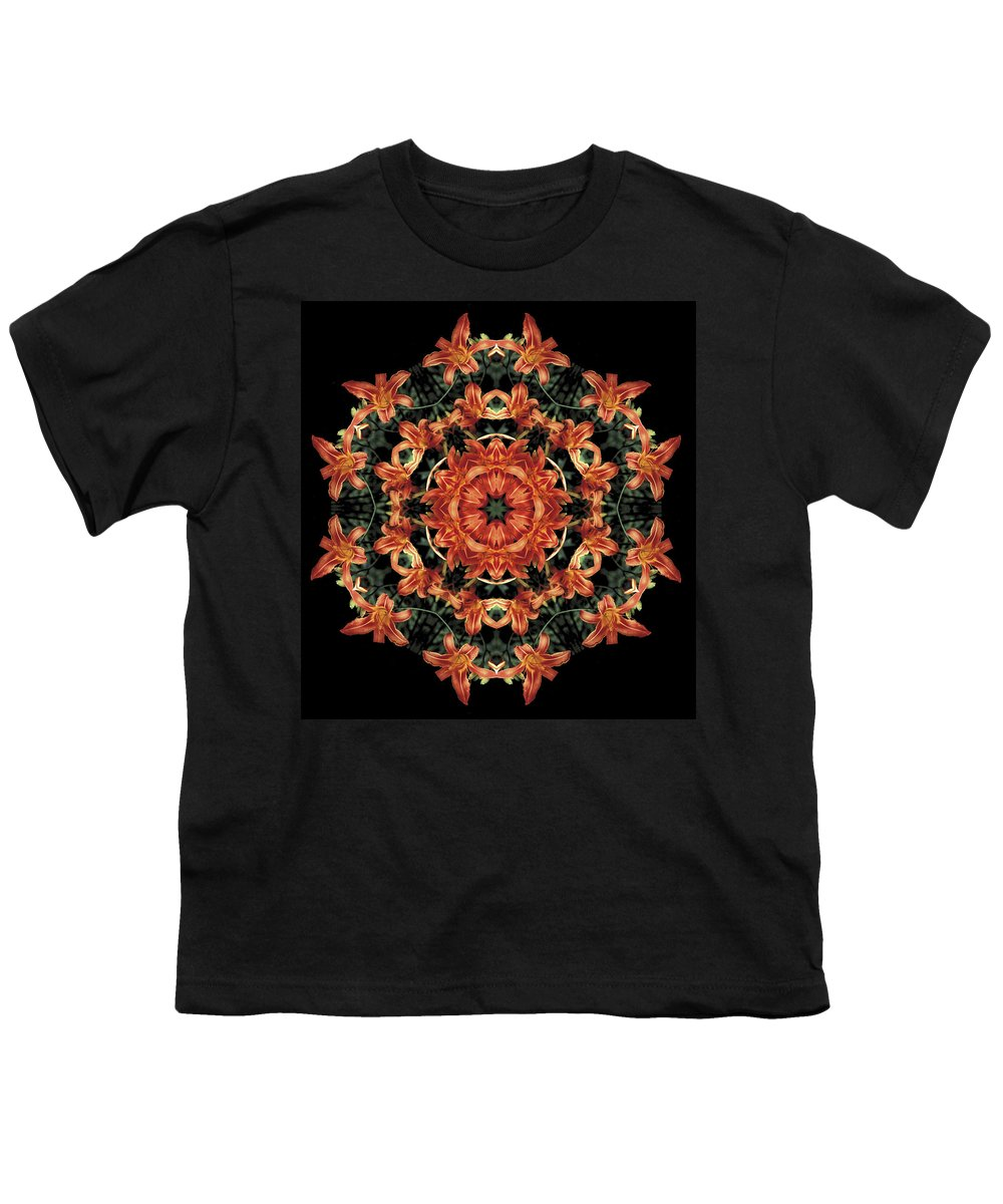 Mandala Youth T-Shirt featuring the photograph Mandala Daylily by Nancy Griswold