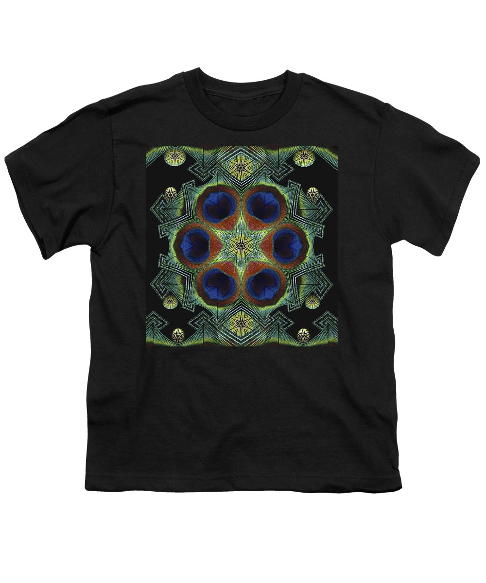 Mandala Youth T-Shirt featuring the digital art Mandala Peacock by Nancy Griswold