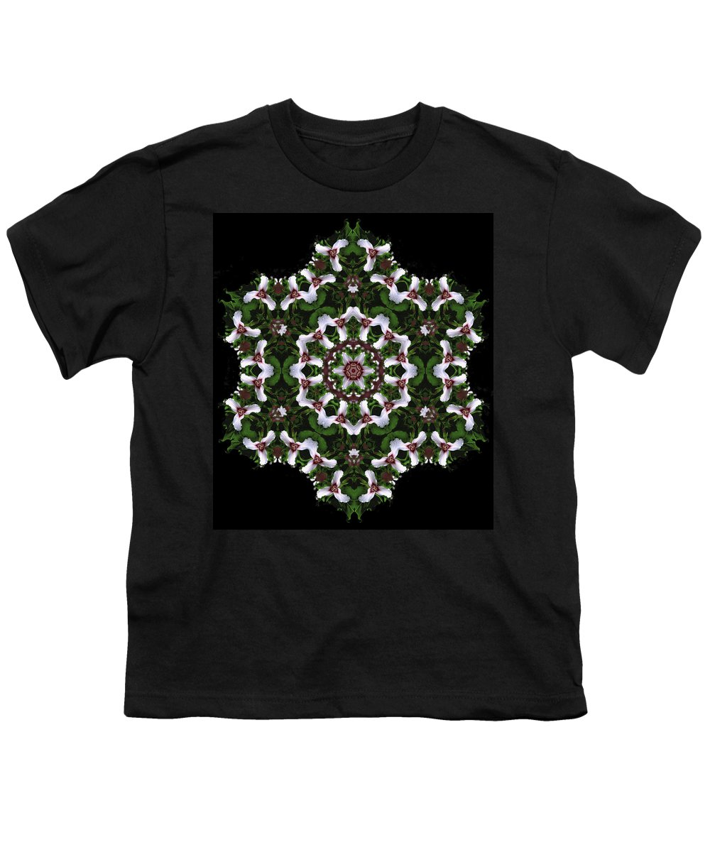 Mandala Youth T-Shirt featuring the digital art Mandala Trillium Holiday by Nancy Griswold