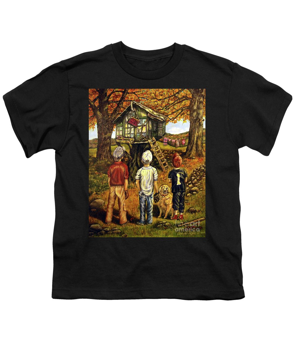 Trees Youth T-Shirt featuring the painting Meadow Haven by Linda Simon