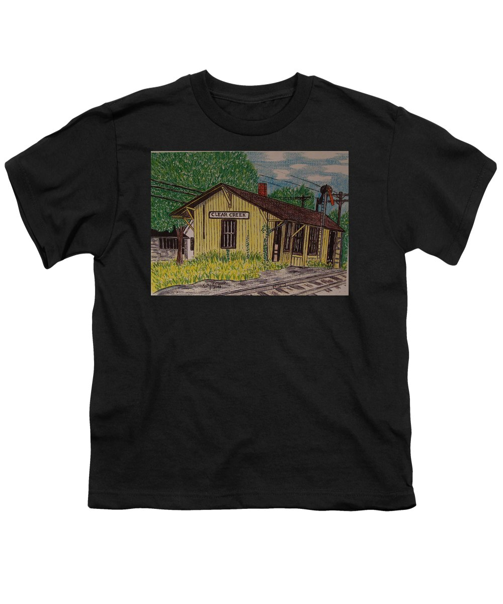 Monon. Monon Train Youth T-Shirt featuring the painting Monon Clear Creek Indiana Train Depot by Kathy Marrs Chandler