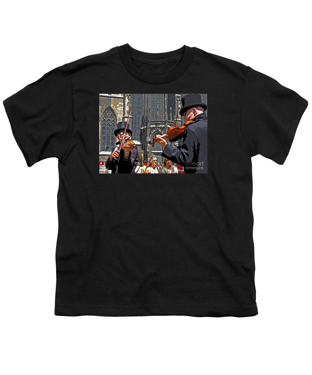 Buskers Youth T-Shirt featuring the photograph Mozart In Masquerade by Ann Horn