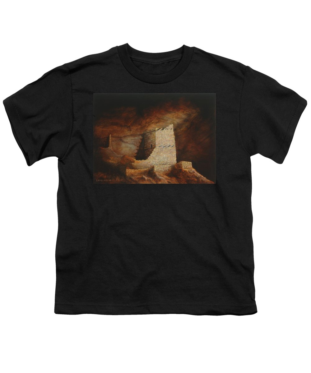 Anasazi Youth T-Shirt featuring the painting Mummy Cave by Jerry McElroy