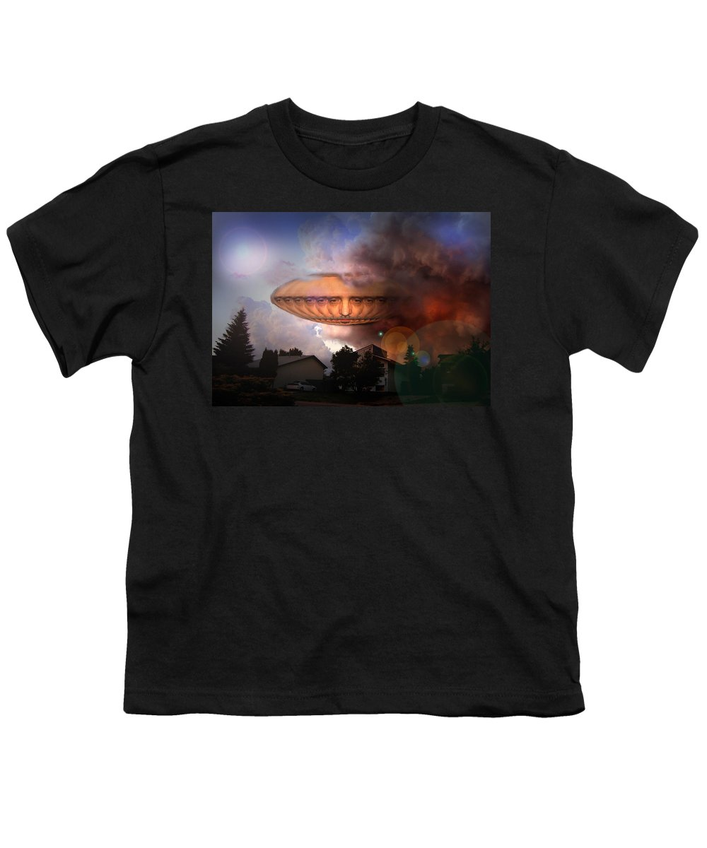 Surrealism Youth T-Shirt featuring the digital art Mystic Ufo by Otto Rapp