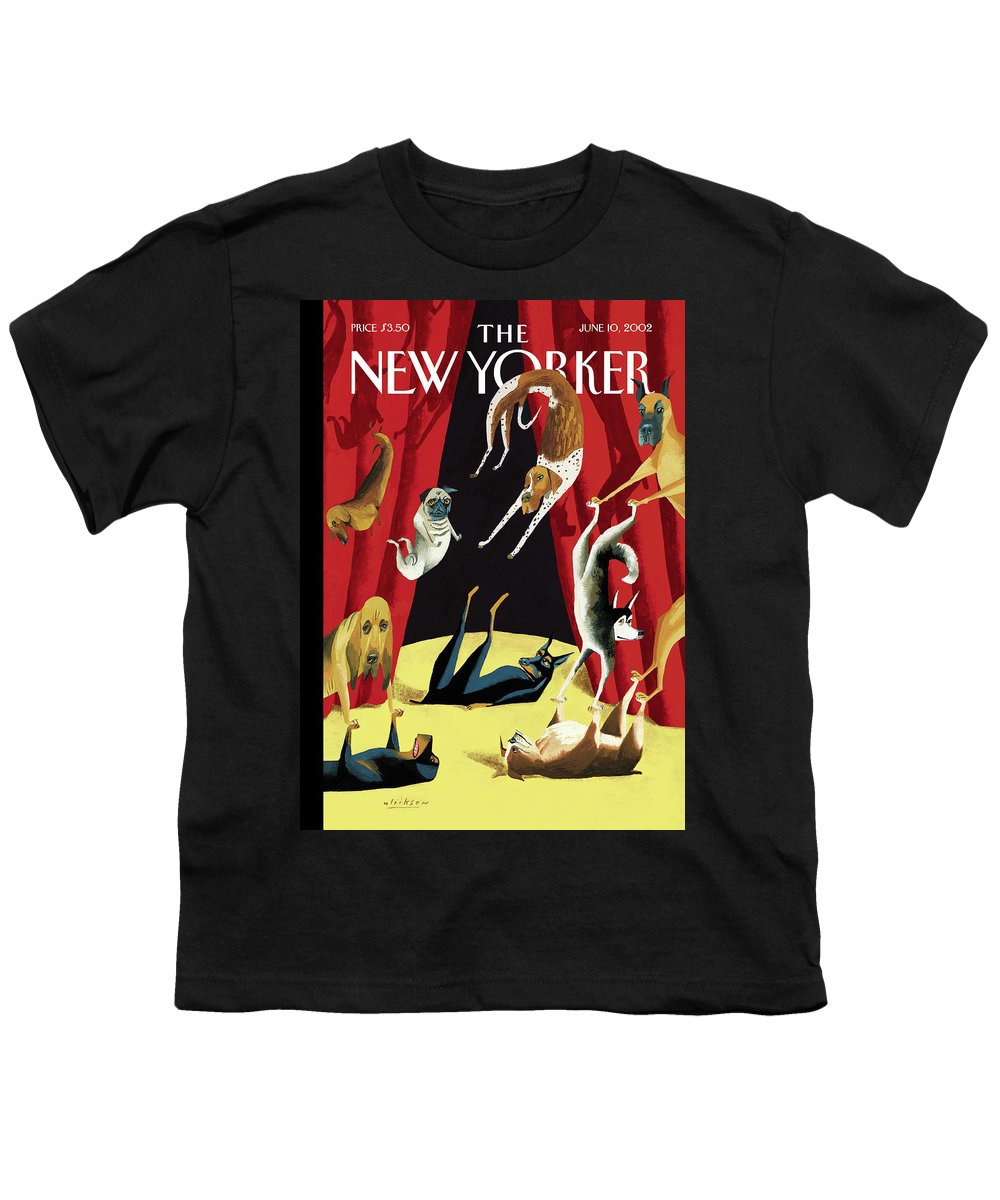 Animals Dogs Entertainment Circus Tricks Stunts Breeds Curtains Stage Dog Canine Acrobat Acrobatics Mark Ulriksen Mul Mul Artkey 51570 Youth T-Shirt featuring the painting New Yorker June 10th, 2002 by Mark Ulriksen