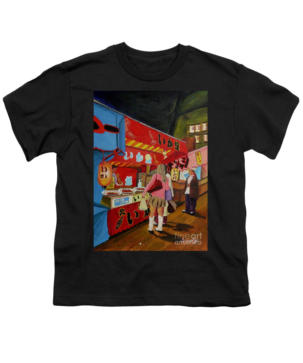 Japan Youth T-Shirt featuring the painting Night Festival by Anthony Dunphy