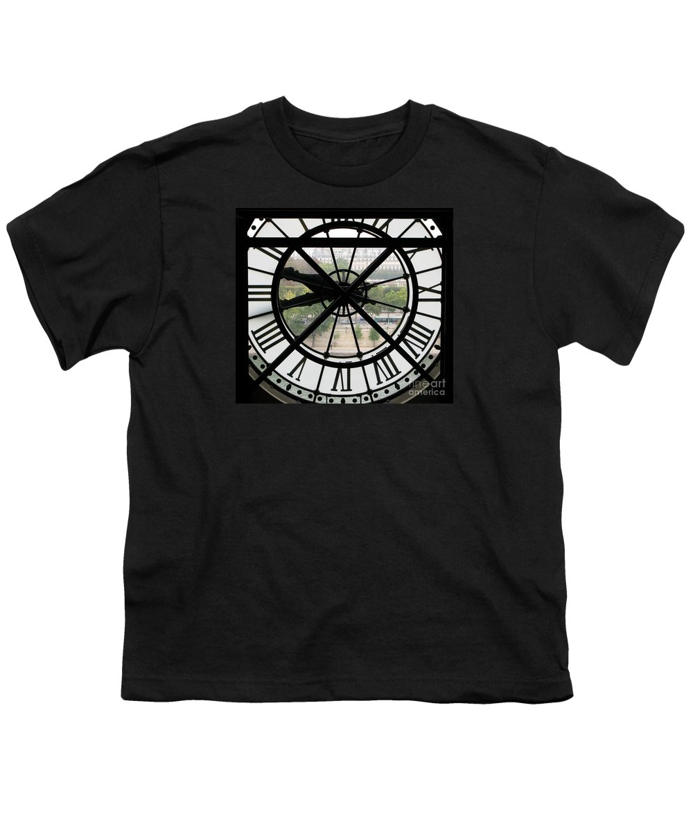 Clock Youth T-Shirt featuring the photograph Paris Time by Ann Horn